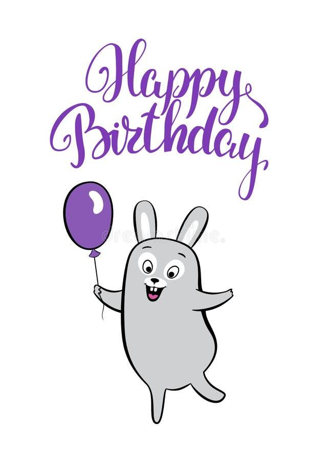 Födelsedagkort som ler tecknad filmharen med ballongen royaltyfri illustrationer