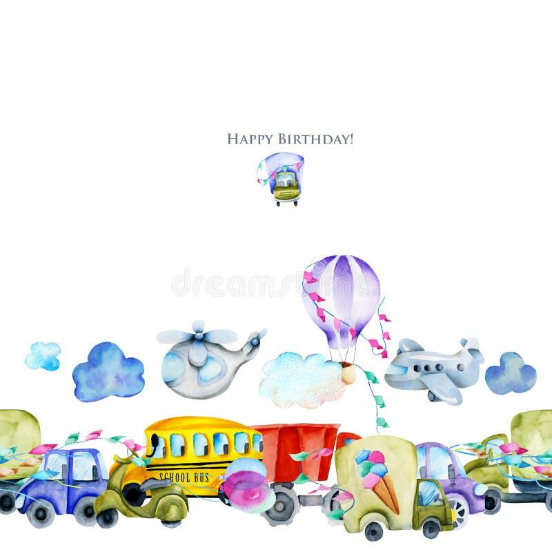 Födelsedagkortdesign med vattenfärgbilar och flygtransport, illustration för ungar vektor illustrationer