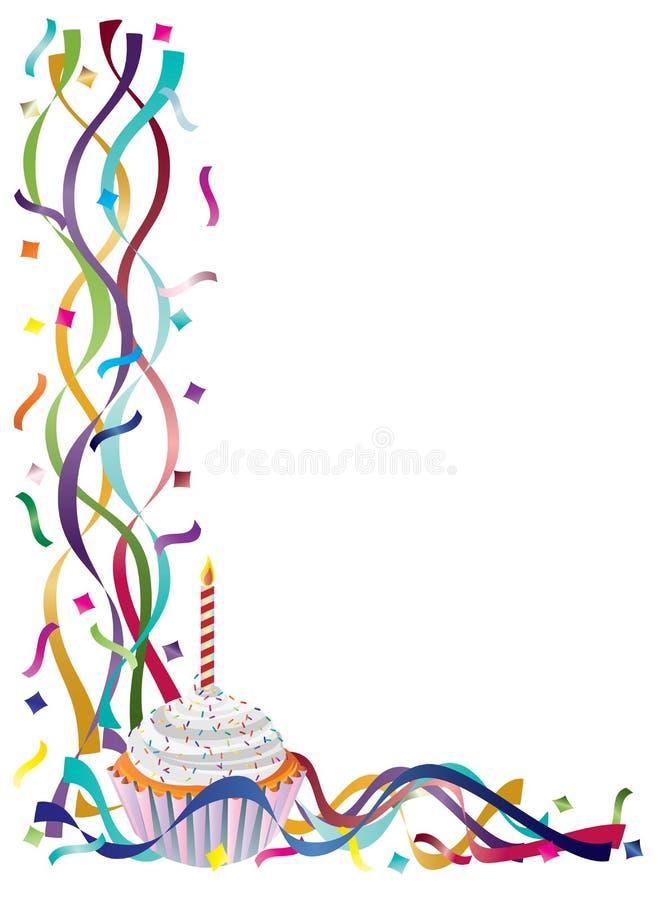 Födelsedagmuffin med band och konfettiar royaltyfri illustrationer