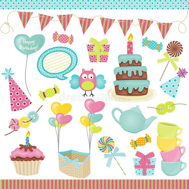 Födelsedagpartibeståndsdelar vektor illustrationer