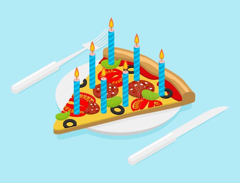 Födelsedagpizza med stearinljusisometrics Snabbmat för festligt stock illustrationer