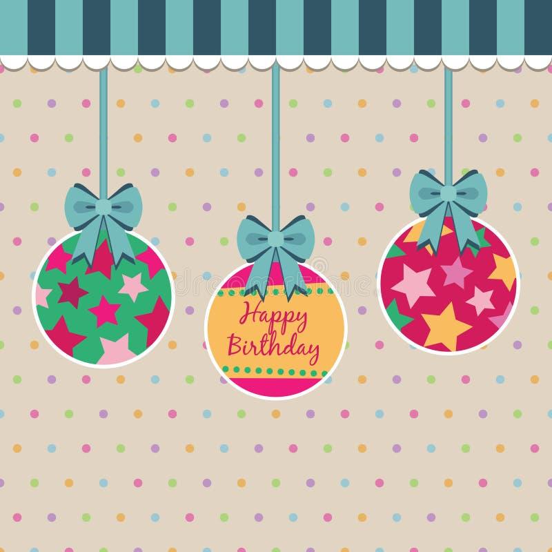 födelsedagprickpolka royaltyfri illustrationer