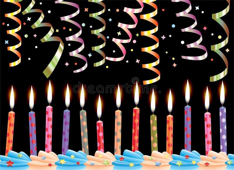 födelsedagstearinljus stock illustrationer