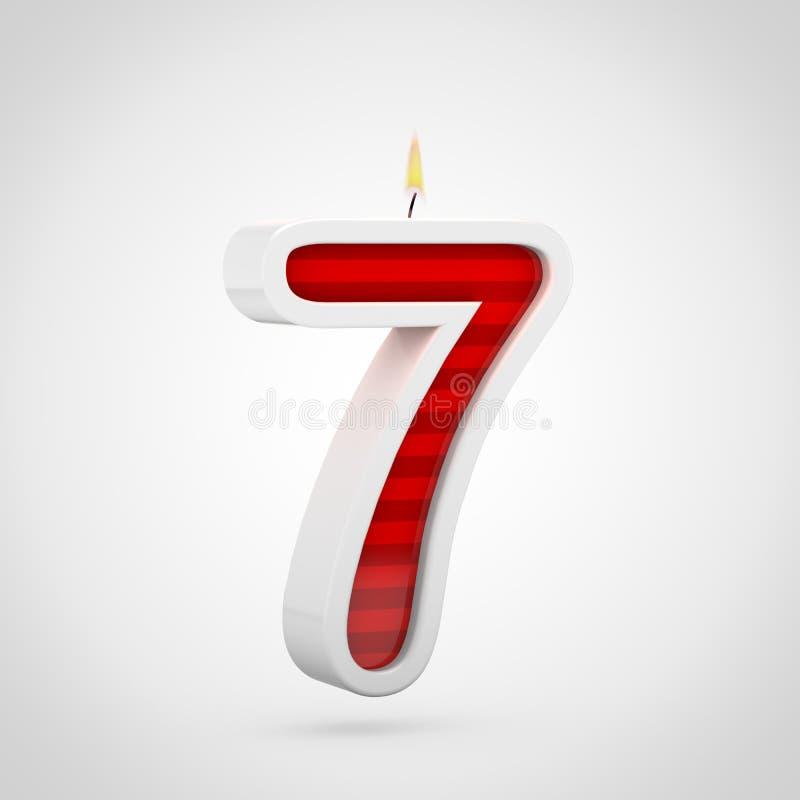 Födelsedagstearinljus nummer 7 som isoleras på vit bakgrund stock illustrationer