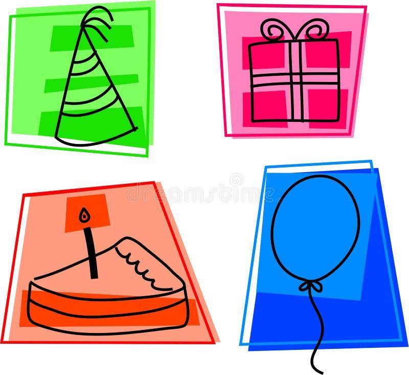 födelsedagsymboler stock illustrationer