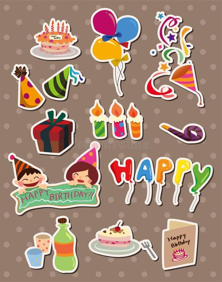 födelsedagtecknad filmetiketter royaltyfri illustrationer