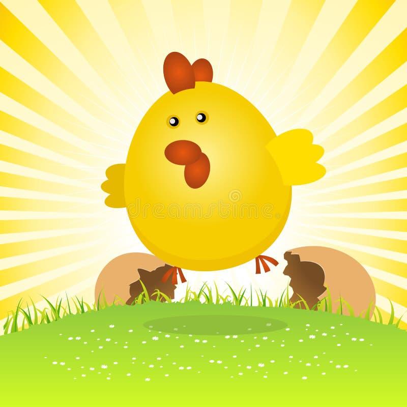 födelsefågelungeeaster fjäder royaltyfri illustrationer