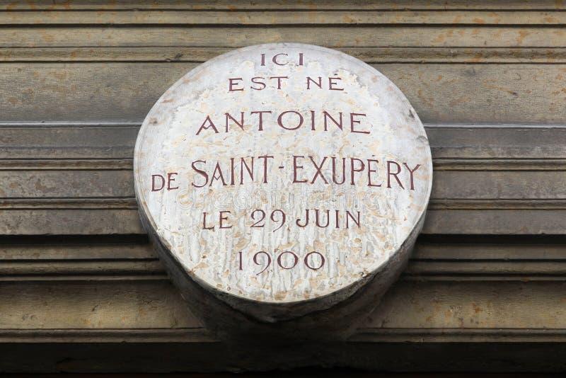 Födelseort av Antoine de Saint Exupery i Lyon, Frankrike arkivfoto