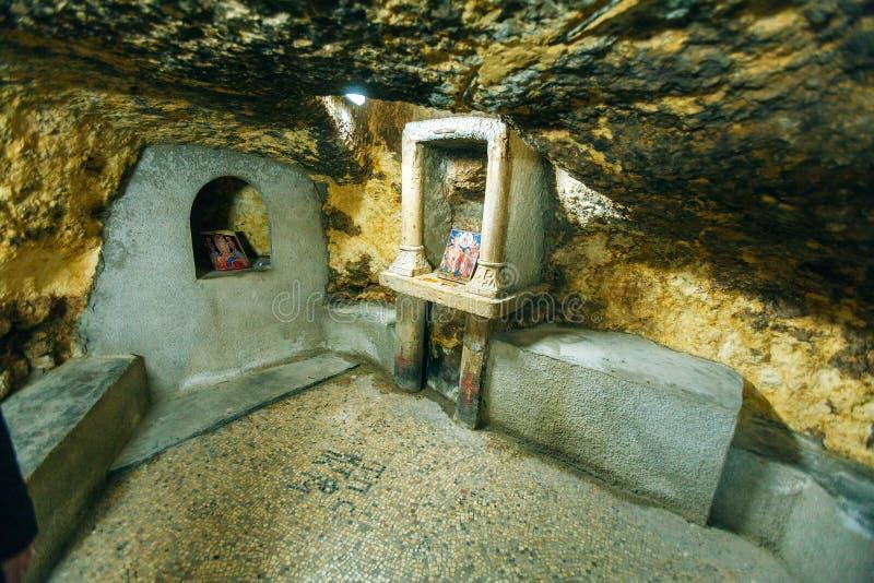 Födelseställe av jungfruliga Mary - som är hem- av Ioakim och Anna, Jerusalem, royaltyfri bild