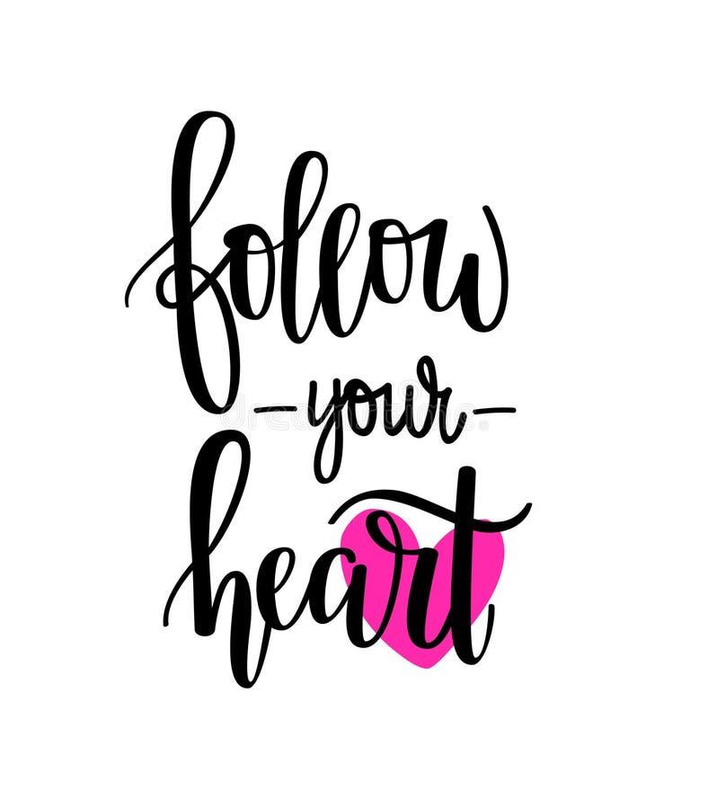 följ din hjärta stock illustrationer