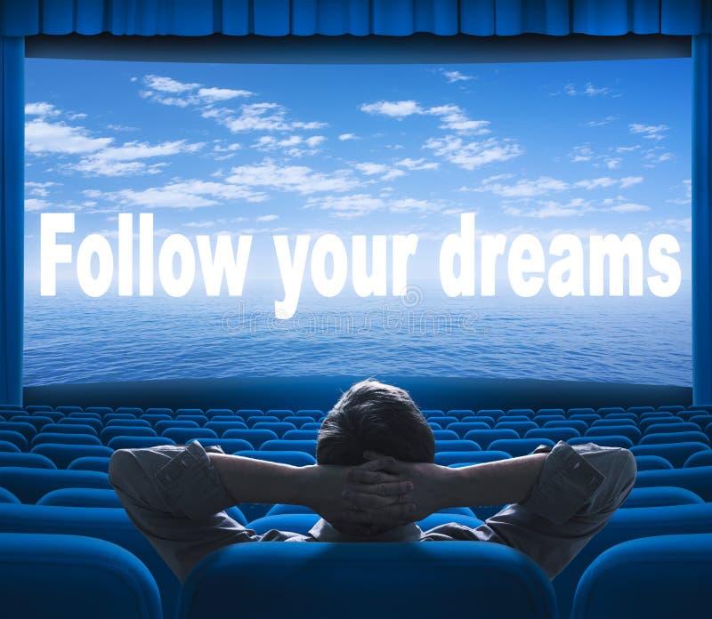Följ ditt drömuttryck på skärmen royaltyfria foton