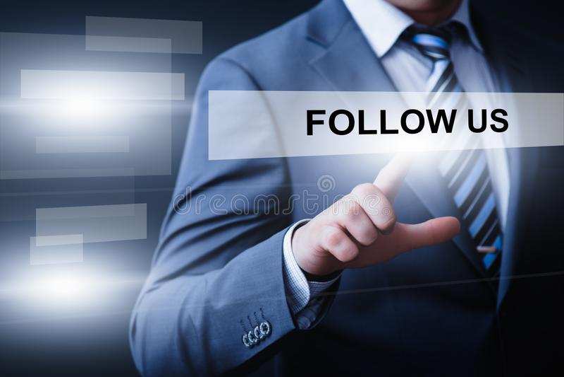 Följ oss begreppet för internet för affären för marknadsföringen för sociala massmediaanhängare det online- fotografering för bildbyråer