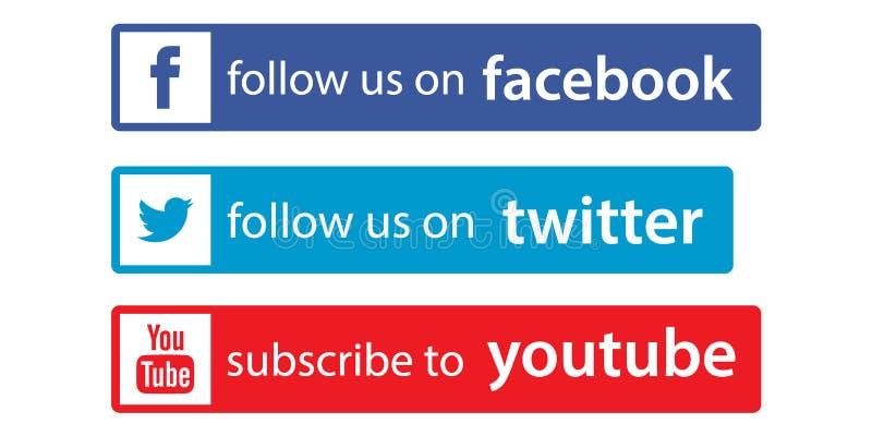 Följ oss på facebook/kvittrande vektor illustrationer