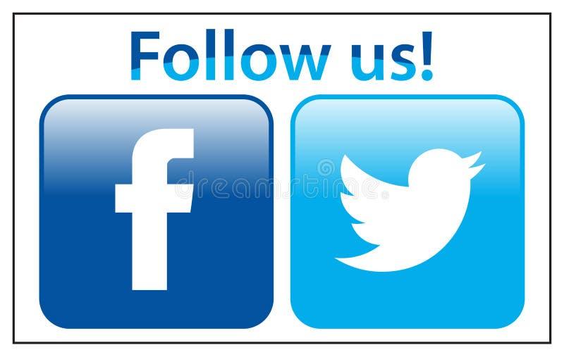 Följ oss på facebookkvittrande vektor illustrationer