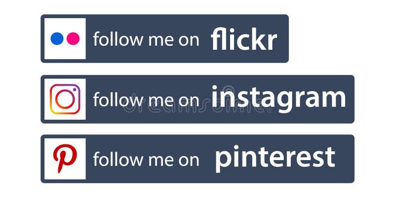 Följ oss på instagram/mest pinterest royaltyfri illustrationer