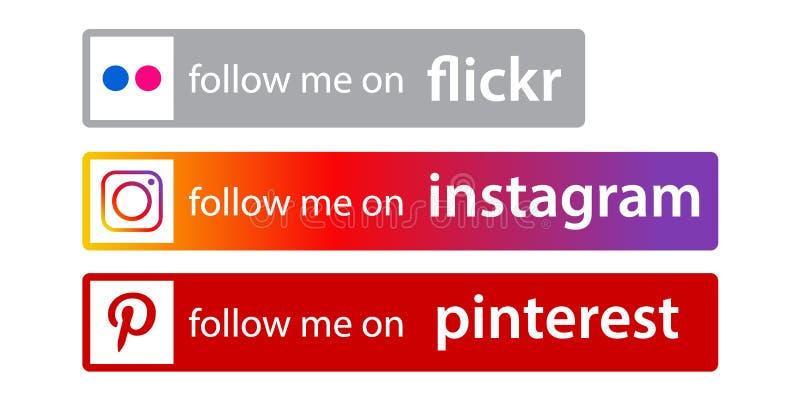 Följ oss på instagram/mest pinterest stock illustrationer