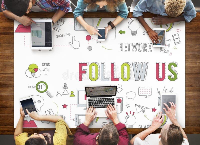 Följ oss som det sociala nätverket förbinder socialt massmediabegrepp royaltyfri bild
