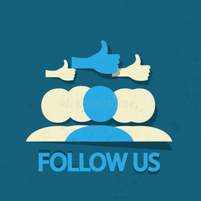 Följ upp oss tummen! vektor illustrationer