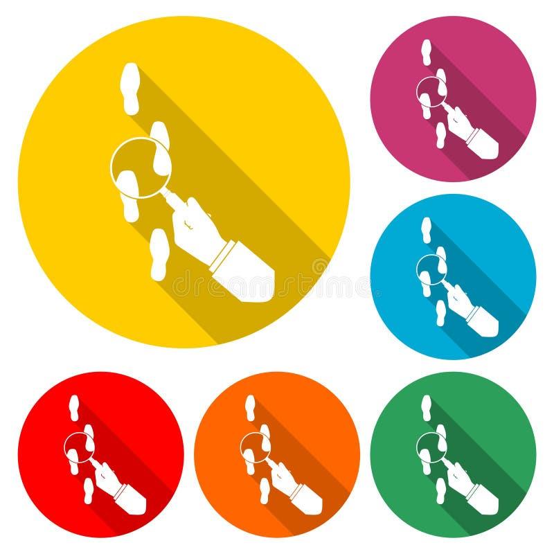 Följande fotstegfärgillustration Hållande förstoringsglas för hand ovanför fotspårlägenhetillustration Kriminalare som kontroller royaltyfri illustrationer