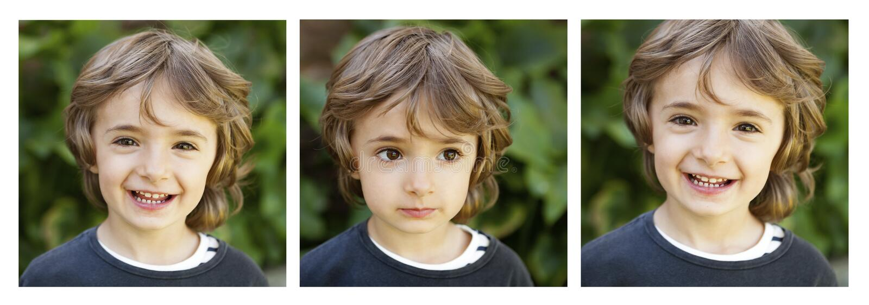Följd av tre bilder med ett lyckligt barn royaltyfria foton