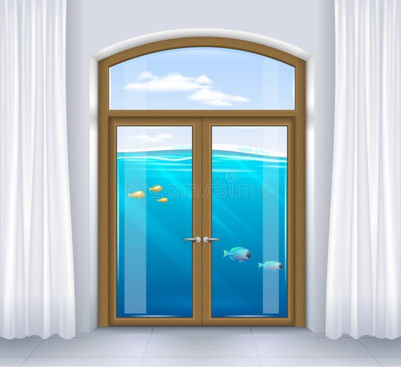 Fönster av det undervattens- landskapet vektor illustrationer