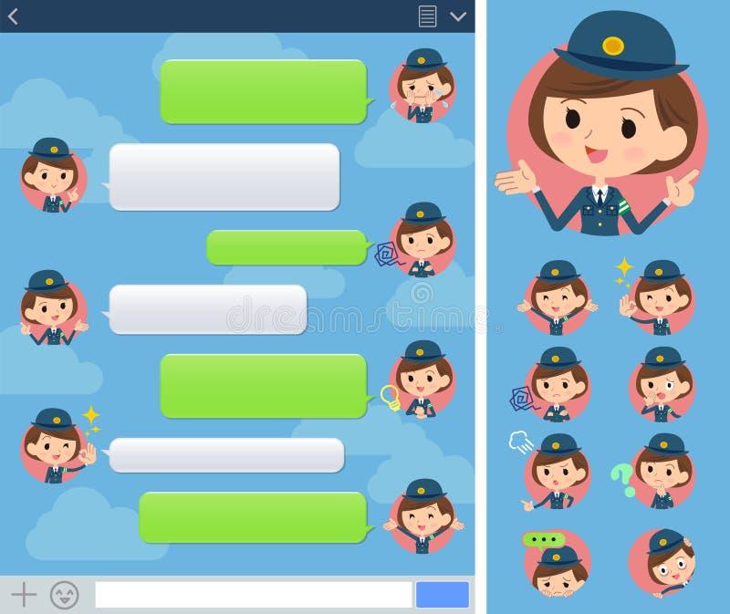 Fönster för poliskvinnasns royaltyfri illustrationer