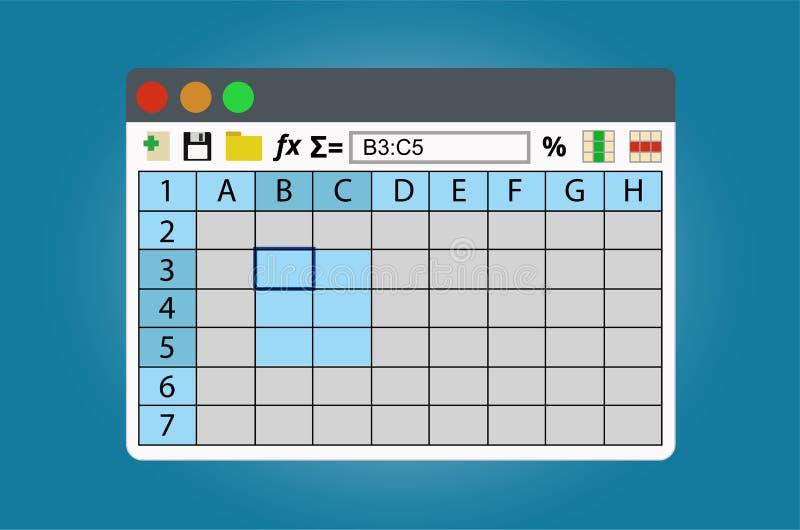 Fönster för räknearkprogram på operationsystem stock illustrationer