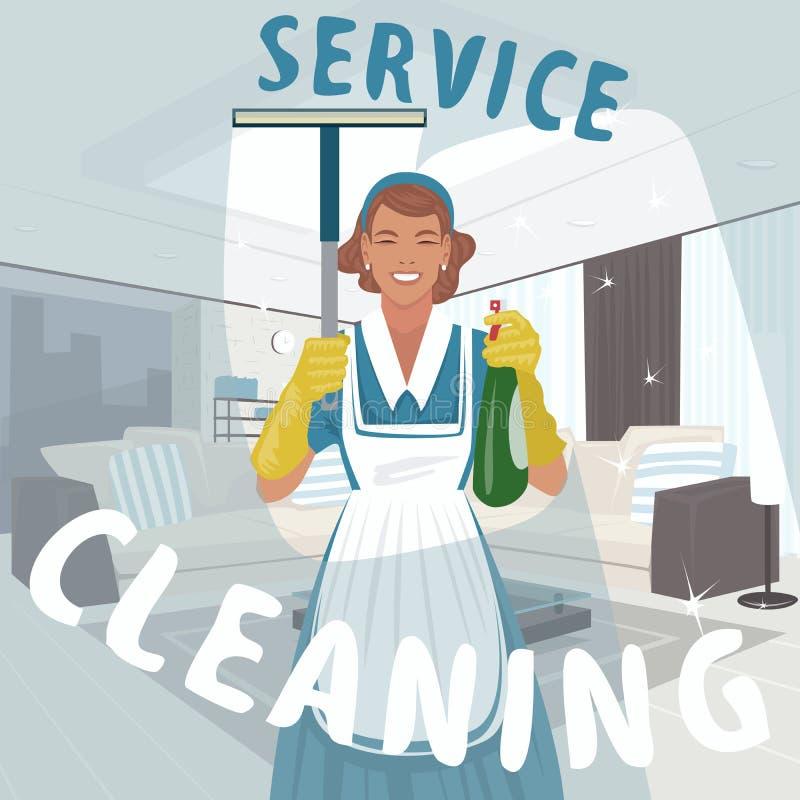 Fönster för tvagning för lokalvårdkvinna royaltyfri illustrationer