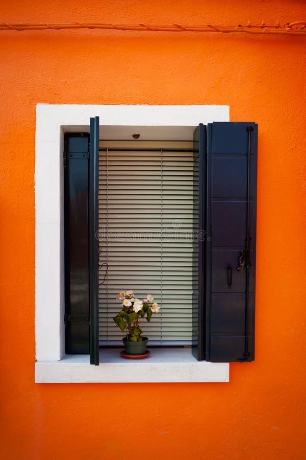 Fönster från Burano royaltyfria bilder