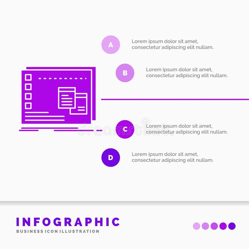 Fönster, Mac, fungerande, OS, programInfographics mall för Website och presentation Infographic stil f?r sk?ralilasymbol vektor illustrationer