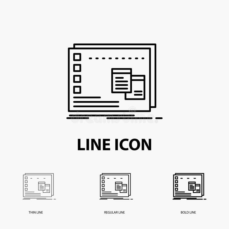 Fönster, Mac, fungerande, OS, programsymbol i tunt, stamgäst och djärv linje stil ocks? vektor f?r coreldrawillustration stock illustrationer