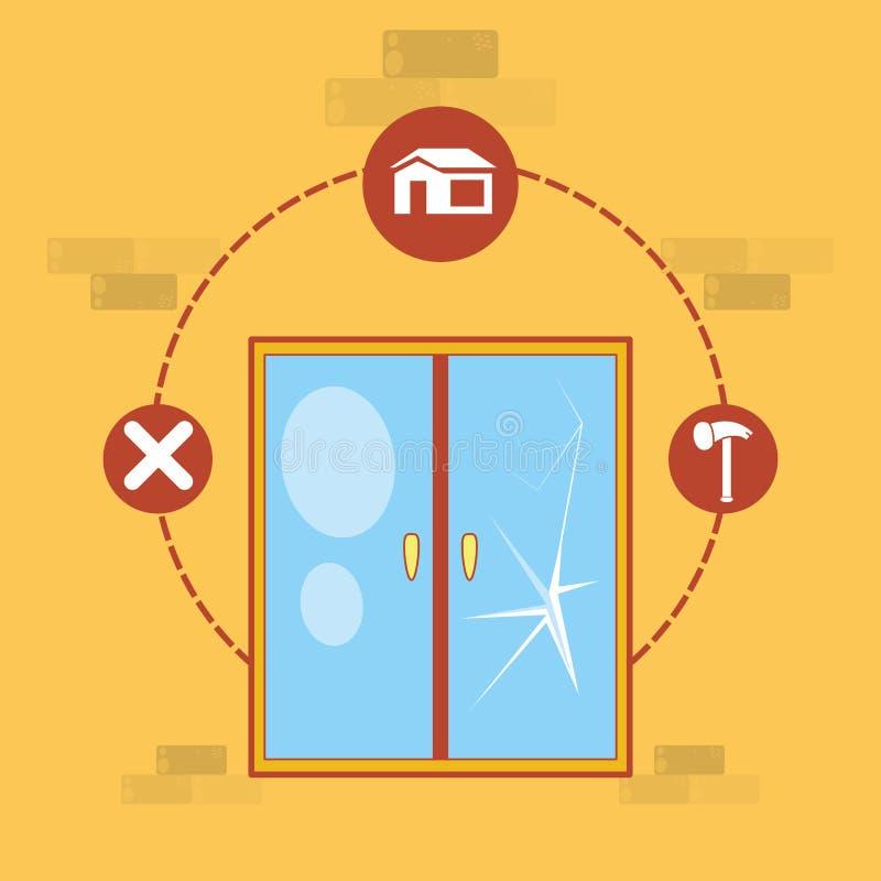 Fönster med hem- reparationssymboler vektor illustrationer