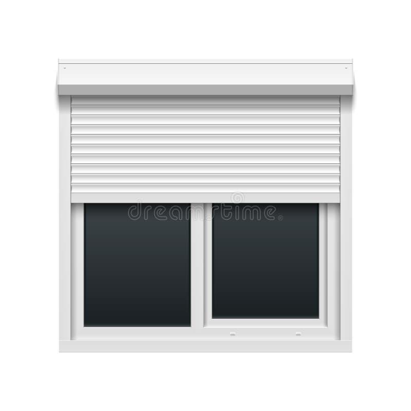 Fönster med rullande slutare royaltyfri illustrationer