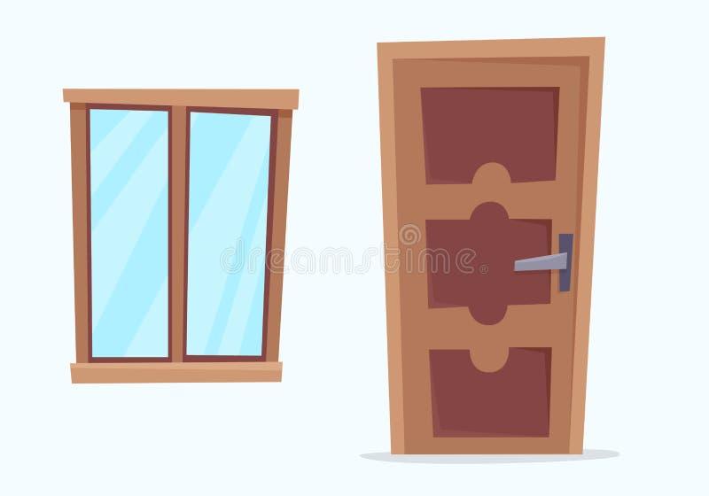 Fönster och dörr Plan tecknad filmstil stock illustrationer