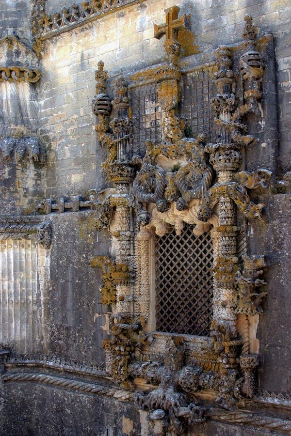 Fönster på Tomar Temple, Portugal fotografering för bildbyråer