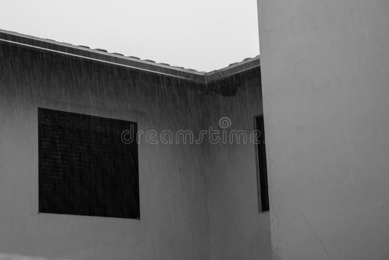 Fönster under en Heavy Rain arkivbild