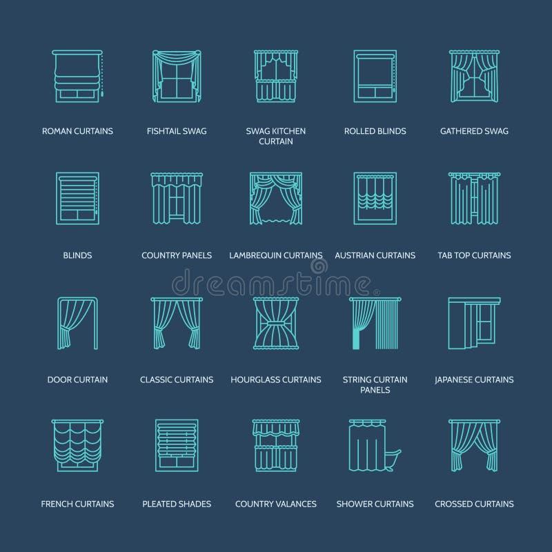 Fönstergardiner, skuggalinje symboler Görande mörkare garnering för olikt rum, lambrequin, bylte, fransk gardin, rullgardiner och vektor illustrationer