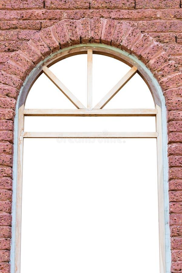 Fönsterram med tegelstenväggen royaltyfria foton
