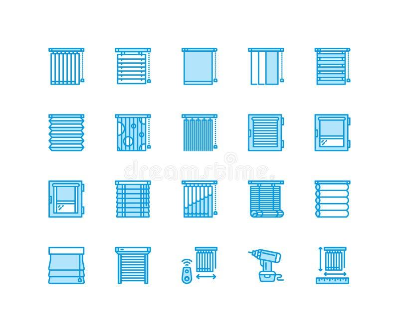 Fönsterrullgardiner, skuggalinje symboler Görande mörkare garnering för olikt rum, rullslutare, roman gardiner som är horisontal  royaltyfri illustrationer