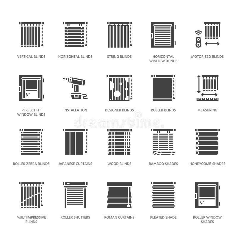 Fönsterrullgardiner, symboler för skuggavektorskåra Stänger med fönsterluckor görande mörkare garnering för olikt rum, rulle, rom stock illustrationer