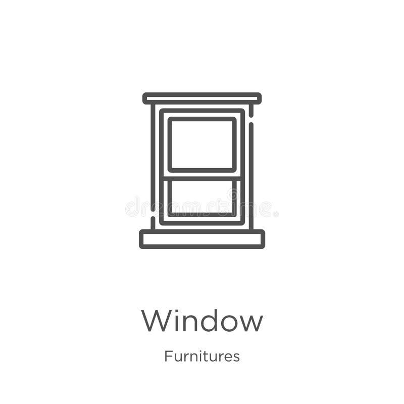 fönstersymbolsvektor från furnituressamling Tunn linje illustration f?r vektor f?r f?nster?versiktssymbol ?versikt tunn linje f?n royaltyfri illustrationer