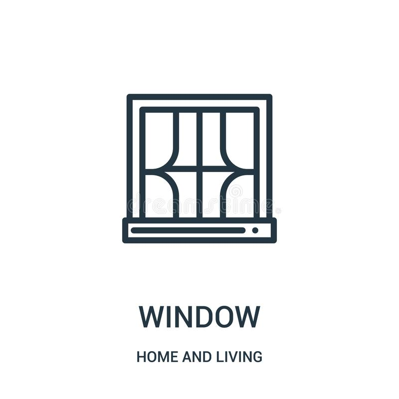 fönstersymbolsvektor hemifrån och bosatt samling Tunn linje illustration för vektor för fönsteröversiktssymbol Linjärt symbol för vektor illustrationer