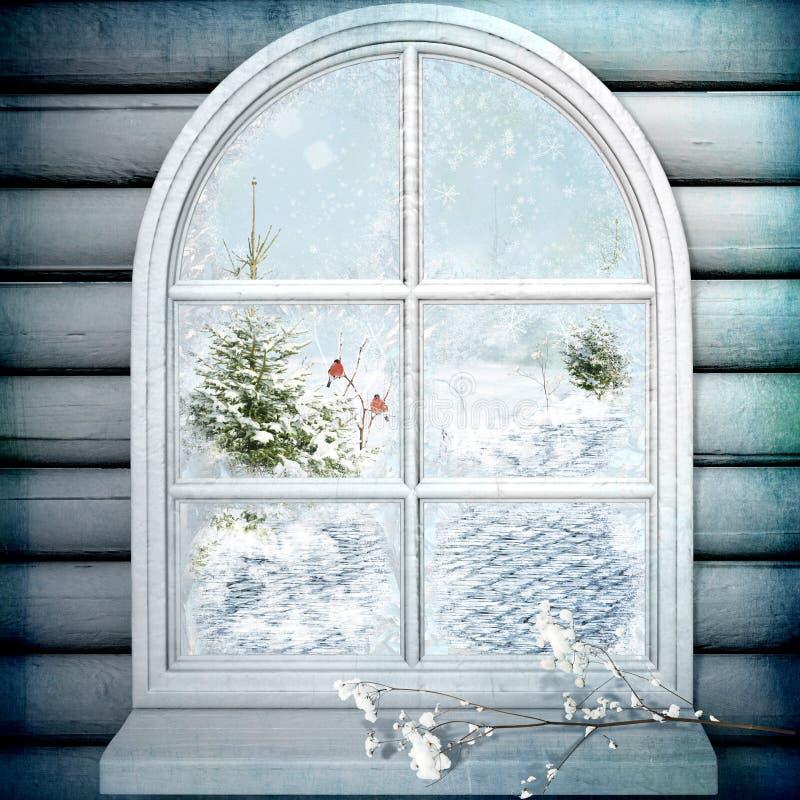 fönstervinter royaltyfri illustrationer
