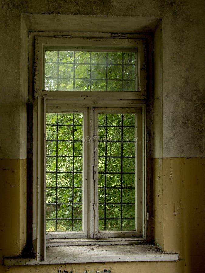 Fönstret i gammalt smutsar ner övergiven byggnad arkivfoton