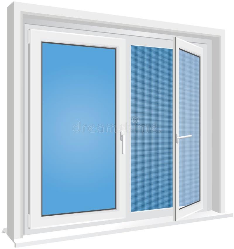 Fönstret med myggaskärmen är på den vita bakgrunden royaltyfri illustrationer