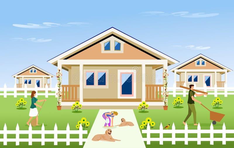 Förälder-barn familj som framme gör ren trädgården av huset stock illustrationer