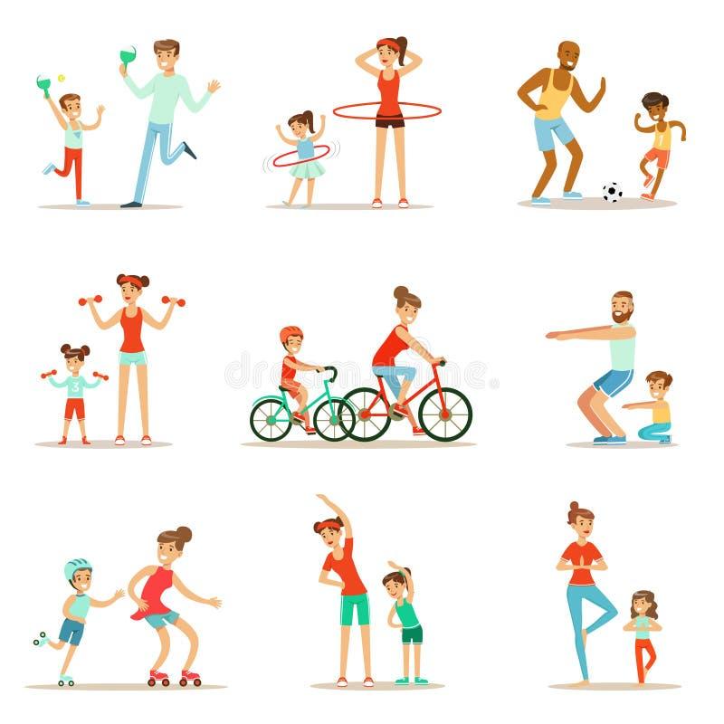 Förälder och barn som gör Sportive övningar och sport som utbildar tillsammans att ha gyckeluppsättningen av platser vektor illustrationer