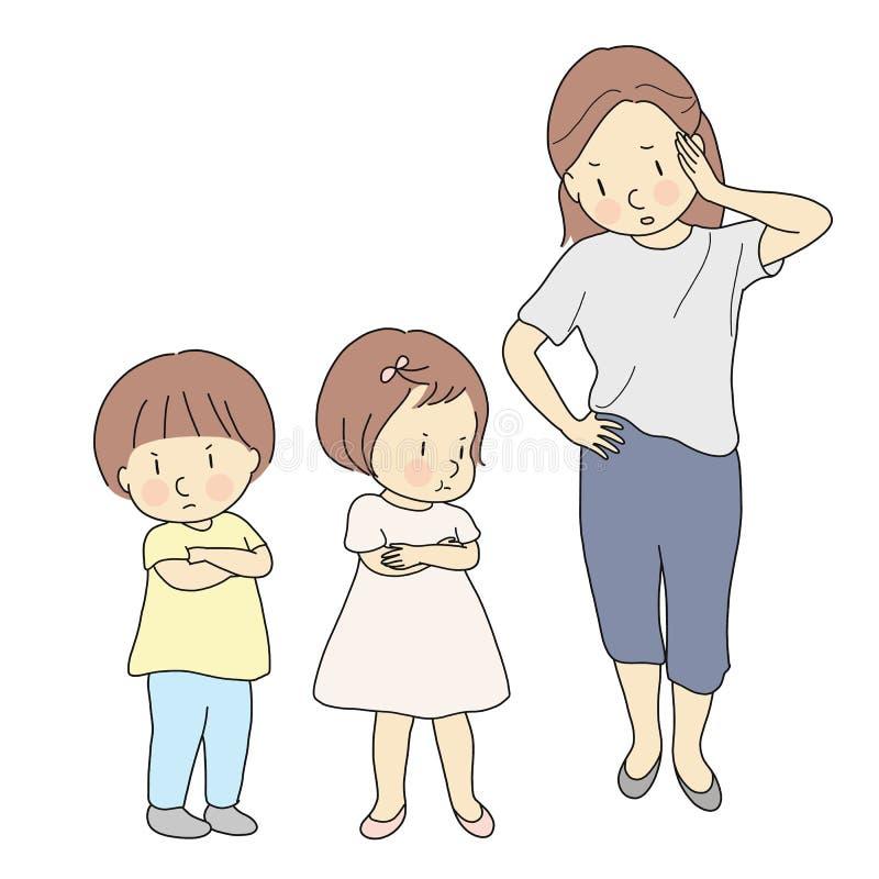 Förälder som handlar med att slåss för syskon Moder som behandlar barnkonflikt Mamma som är ilsken och skriker på hennes ungar Fa royaltyfri illustrationer