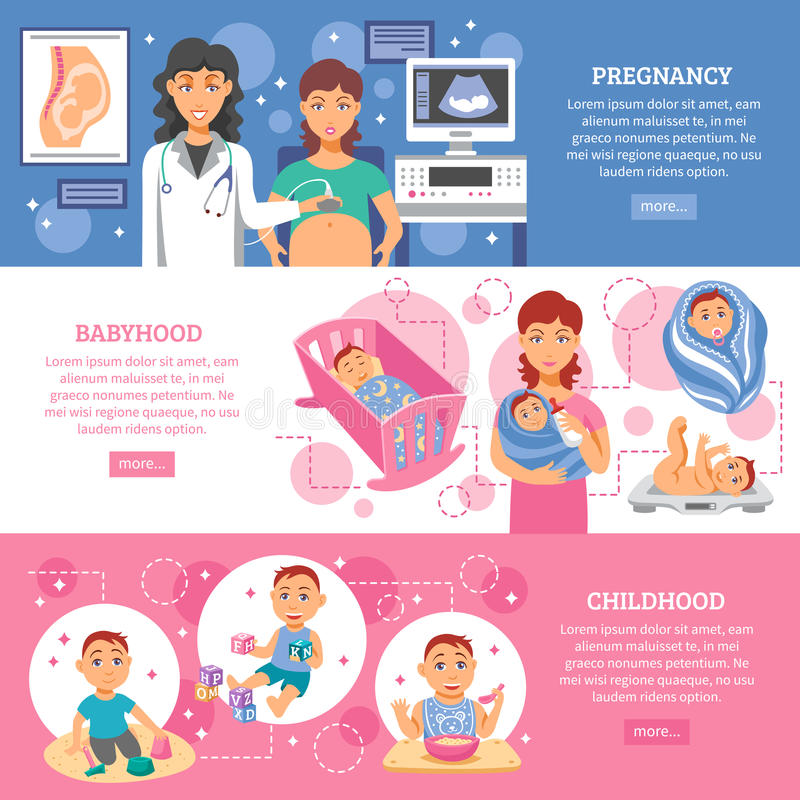 Förälderbaneruppsättning stock illustrationer