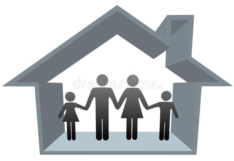 föräldrar för hus för barnfamiljutgångspunkt royaltyfri illustrationer